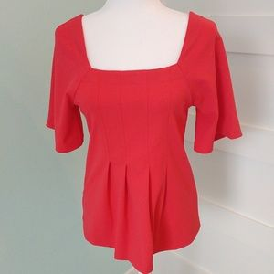 Ann Taylor Coral Square Neck Pleated Blouse